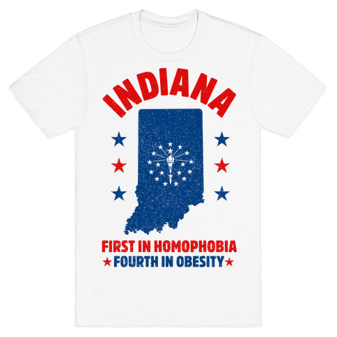 Indiana First in Homophobia Fourth in Obesity Mens T-Shirt