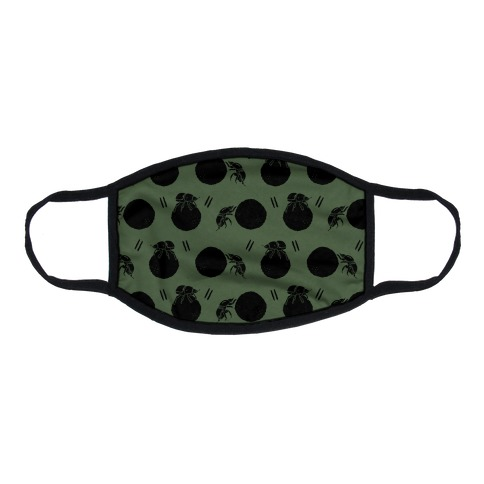 Dung Beetle Pattern Chive Green Flat Face Mask