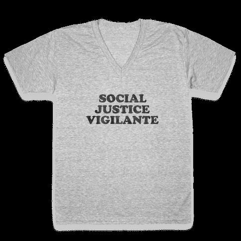 Social Justice Vigilante V-Neck Tee Shirt