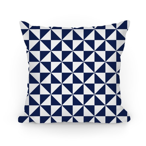 Navy Large Pinwheel Pattern Pillow