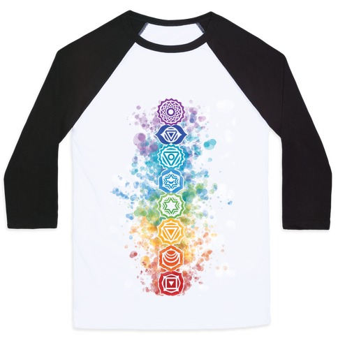 5e053116 Watercolor Chakra Symbols Baseball Tee