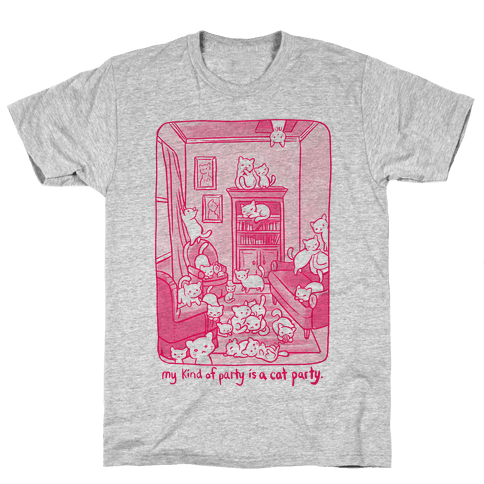 My Kind Of Party Is A Cat Party Mens T-Shirt