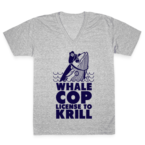 Whale Cop V-Neck Tee Shirt