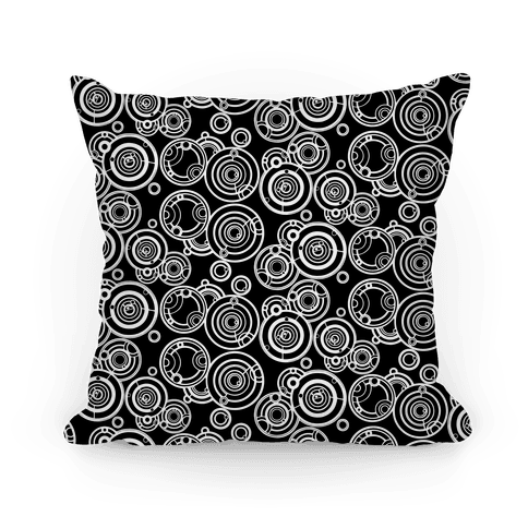 Black and White Gallifreyan Writing Pattern Pillow