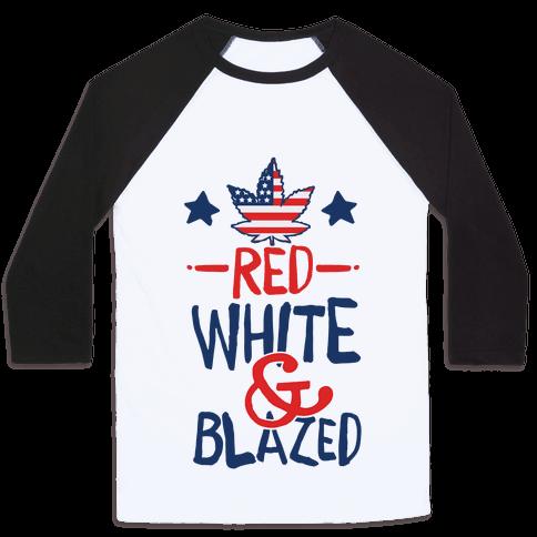 Red, White and Blazed Baseball Tee