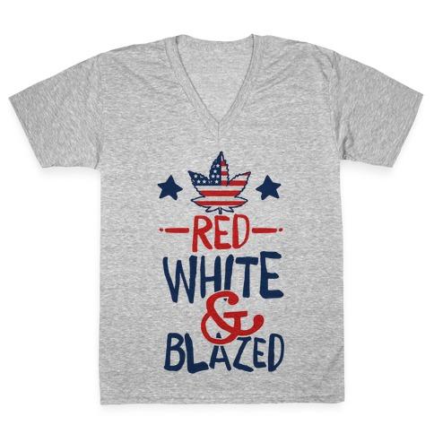 Red, White and Blazed V-Neck Tee Shirt