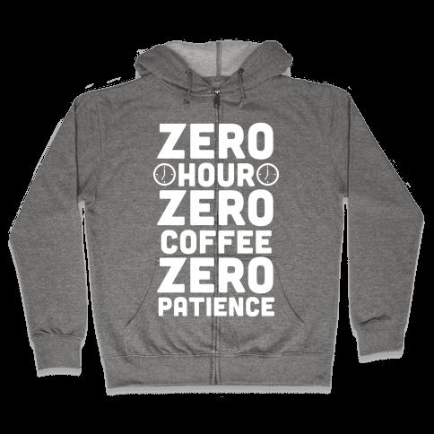 Zero Hour (White Ink) Zip Hoodie
