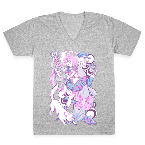 Pastel Horror Senshi V-Neck Tee Shirt