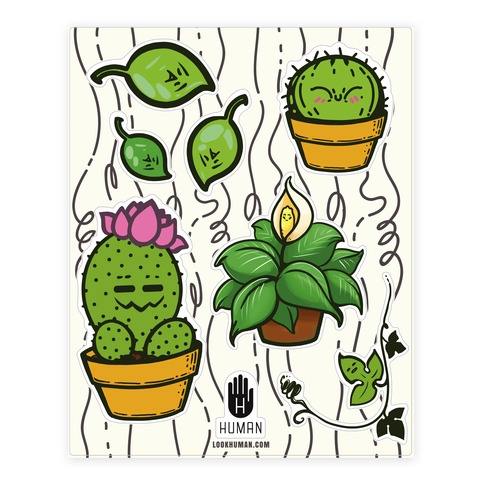 Kawaii Plant  Sticker/Decal Sheet