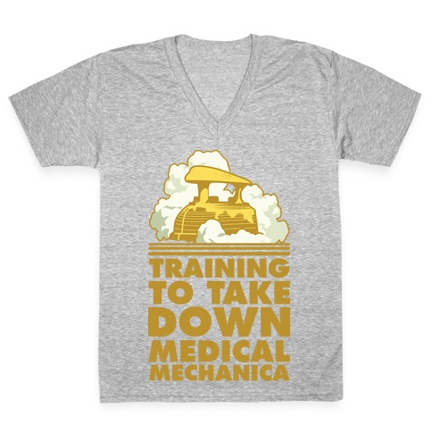 Training to Take Down Medical Mechanica V-Neck Tee Shirt