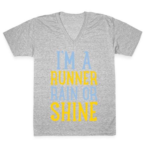 I'm A Runner, Rain Or Shine V-Neck Tee Shirt