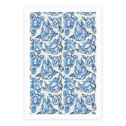 Floral Penis Pattern Blue Poster