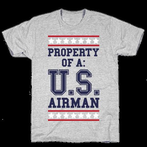 Property of a u s airman t shirt human for Property of shirt designs