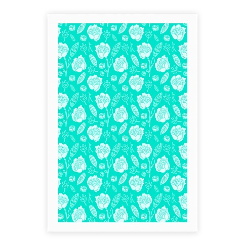 Floral and Leaves Pattern (Teal) Poster
