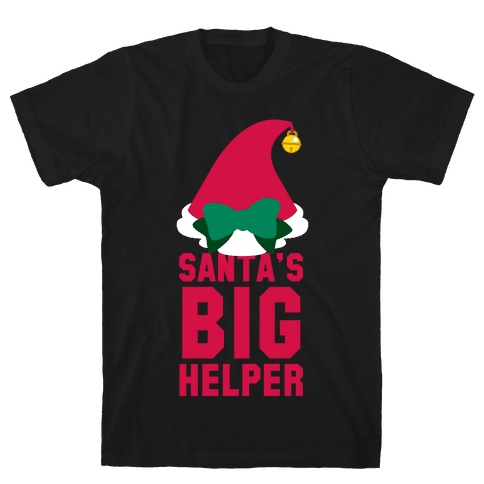 Santa's Big Helper (White Ink) Mens T-Shirt