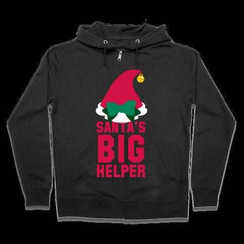 Santa's Big Helper (White Ink) Zip Hoodie