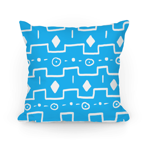 Blue Tribal Doodle Pattern Pillow
