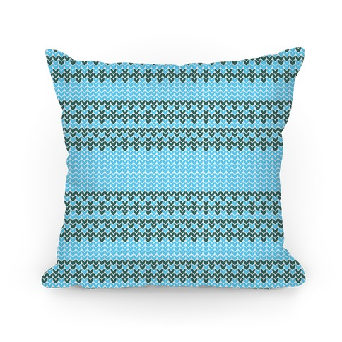 Faux Knitted Sweater Blue Pattern Pillow