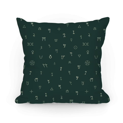 Wiccan Witchcraft Symbols (Green) Pillow