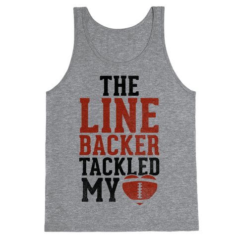 The Linebacker Tackled My Heart (Red Heart) Tank Top