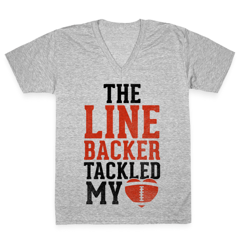 The Linebacker Tackled My Heart (Red Heart) V-Neck Tee Shirt
