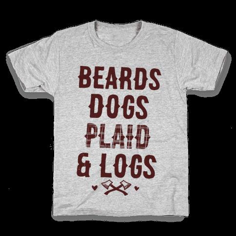 Beards Dogs Plaid and Logs Kids T-Shirt