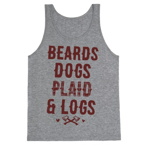 Beards Dogs Plaid and Logs Tank Top