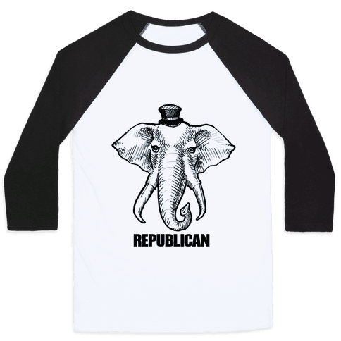 Republican Elephant Simplified Baseball Tee