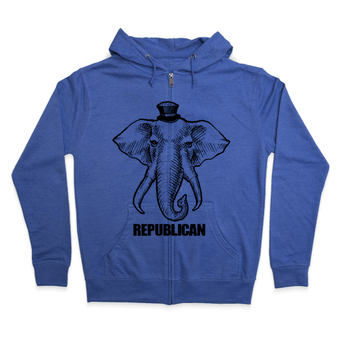Republican Elephant Simplified Zip Hoodie