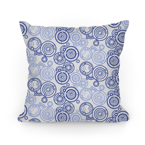 Gray and Blue Gallifreyan Writing Pattern Pillow