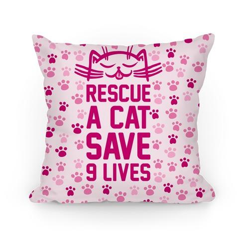 Rescue A Cat Save Nine Lives Pillow
