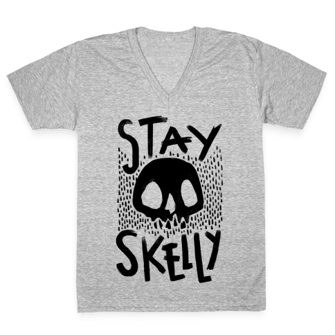 Stay Skelly V-Neck Tee Shirt