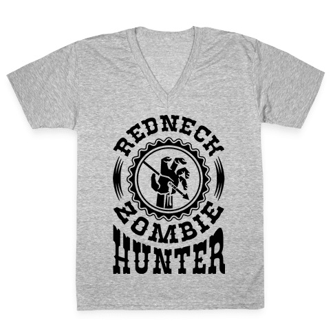 Redneck Zombie Hunter V-Neck Tee Shirt