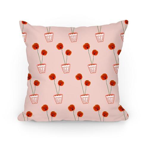 Poppy Flower Pattern Pillow