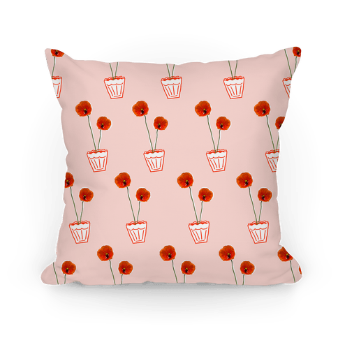 Poppy Flower Pattern Pillow