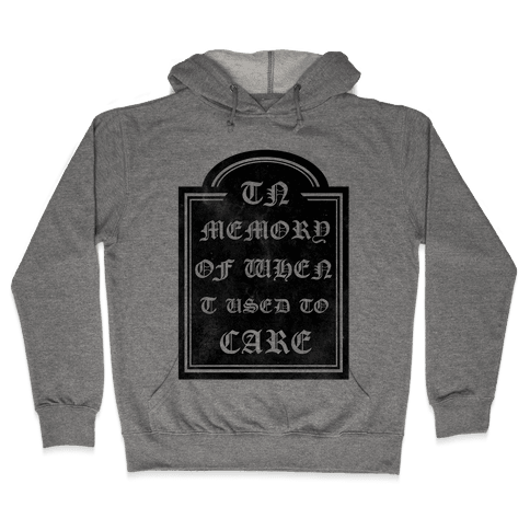 In Memory of When I Used to Care Hooded Sweatshirt