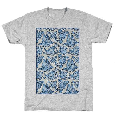Floral Penis Pattern Mens T-Shirt