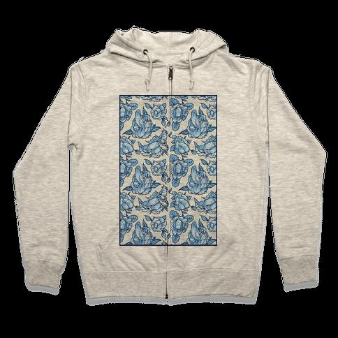 Floral Penis Pattern Zip Hoodie
