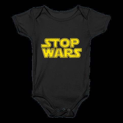 Stop Wars (Dark Print) Baby Onesy