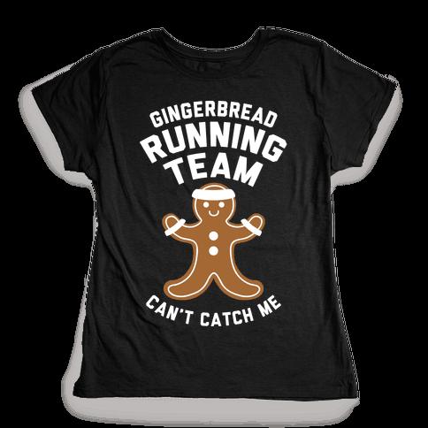 Gingerbread Running Team (White Ink) Womens T-Shirt
