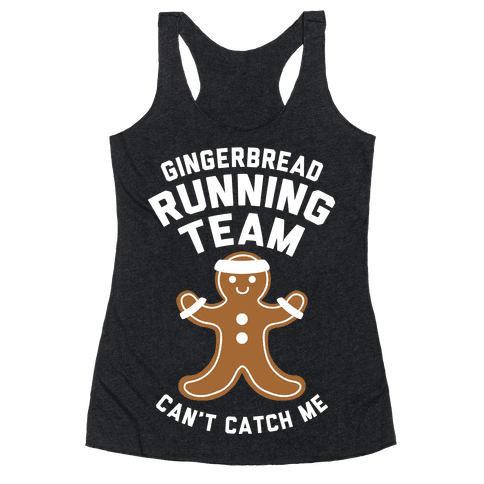 Gingerbread Running Team (White Ink) Racerback Tank Top