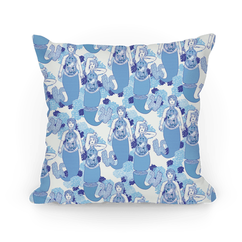 Mermaid Autopsy Pattern Pillow