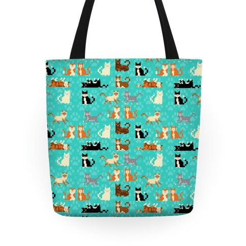 Cute Pixel Kitty Cats Tote