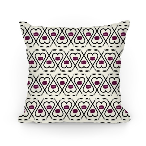 Hockey Sticks and Puck Pattern Pillow