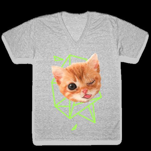 Miley Cat Head V-Neck Tee Shirt