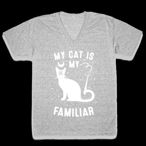 My Cat is My Familiar V-Neck Tee Shirt