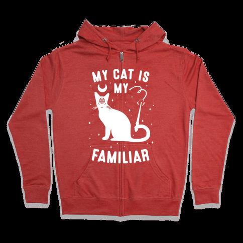 My Cat is My Familiar Zip Hoodie