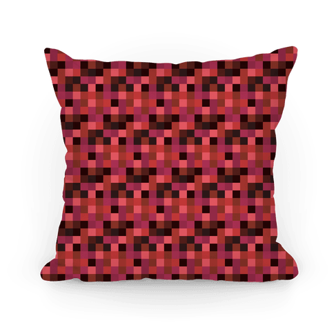 Red Gamer Pixel Pattern Pillow