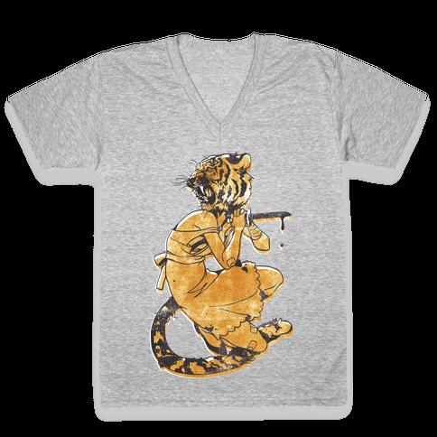 Tiger Woman V-Neck Tee Shirt