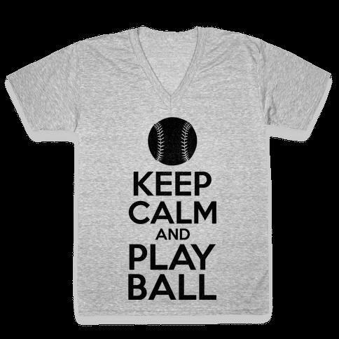 Keep Calm Ball V-Neck Tee Shirt